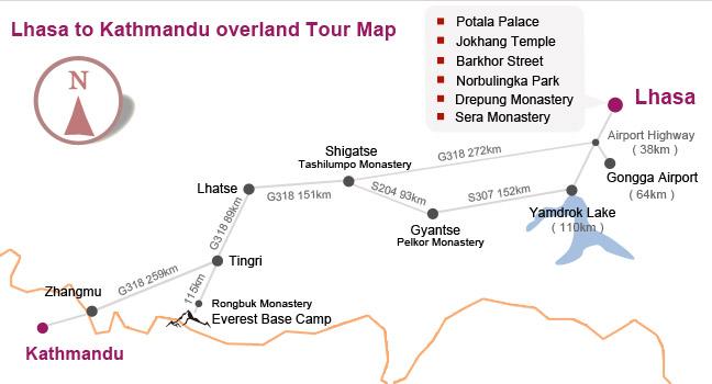 Lhasa to Kathmandu overland Tour Map